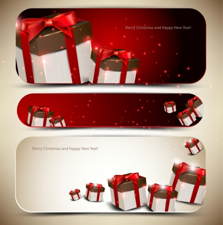 Set of three banners with gifts  Vector illustration Stock Vector - 14960302