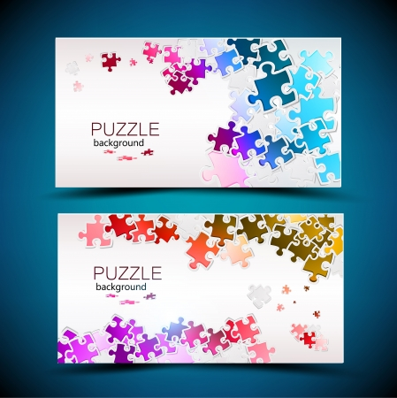 network card: Business cards with mosaic made from puzzle pieces
