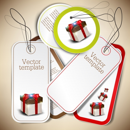christmas gift tag: Set of bubbles, stickers, labels, tags  Vector template