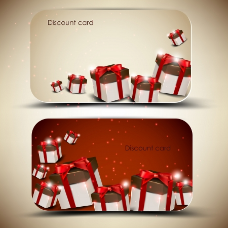 christmas gift tag: Collection of discount cards with gifts  Vector background