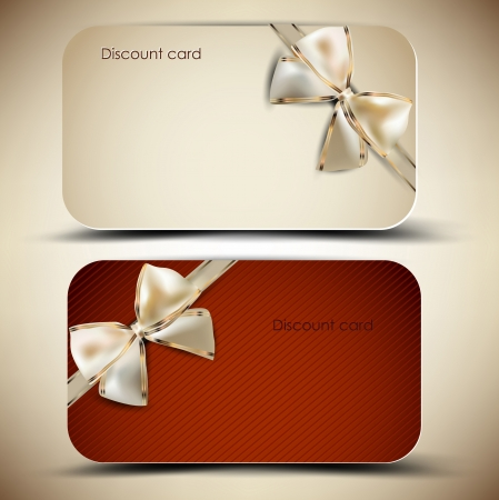 discount banner: Collection of gift cards with ribbons  Vector background Illustration
