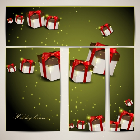 Set of holiday banners with gifts   illustration Vector