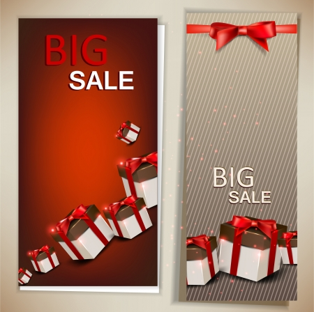 christmas flyer background: Collection of discount cards with gifts background Illustration