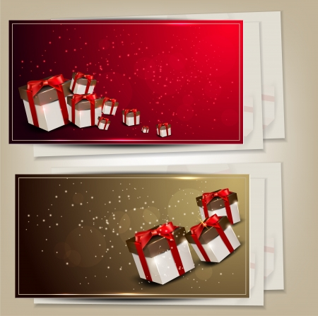 Set of holiday banners with gifts illustration Stock Vector - 15066292