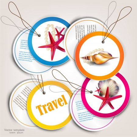 sea mark: Set of Holiday Badges, Labels, Tags with shells and place for text