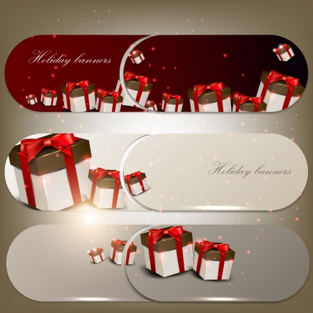 Set of holiday banners with gifts Stock Vector - 15166715