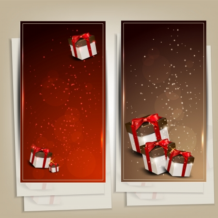 Set of holiday banners with gifts  Vector