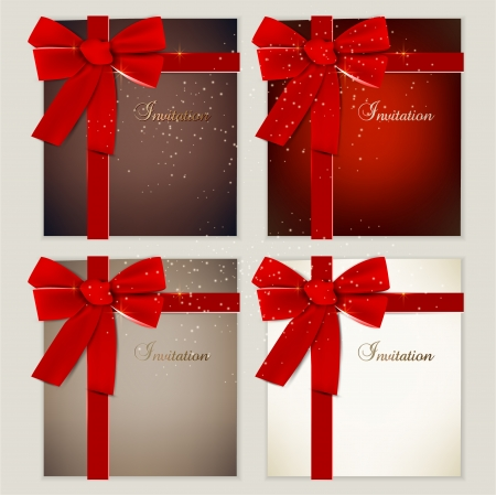 christmas gift tag: Collection of gift cards with ribbons