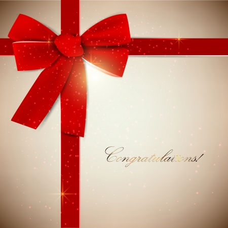 Holiday banner with red ribbons