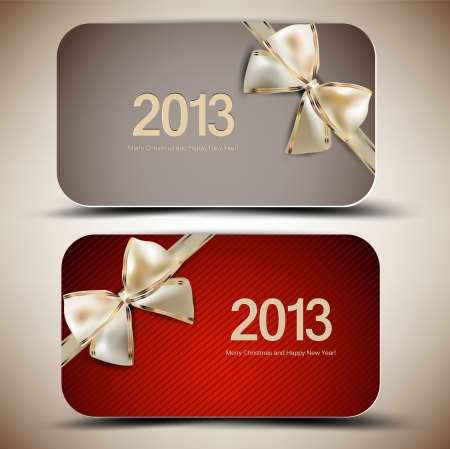 Collection of gift cards with ribbons  2013
