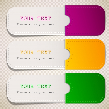 sale tag: Colorful bookmarks with place for text Illustration
