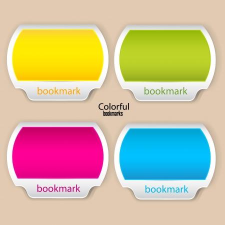 pesta�as: Marcadores de colores y pancartas con lugar para el texto Vectores