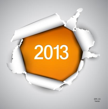 turns of the year: Papel rasgado con el espacio para el texto 2013 Vectores
