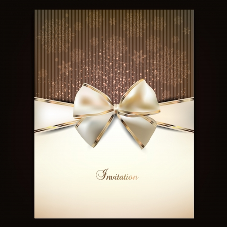greeting cards: Greeting card with white bow and copy space. Vector illustration