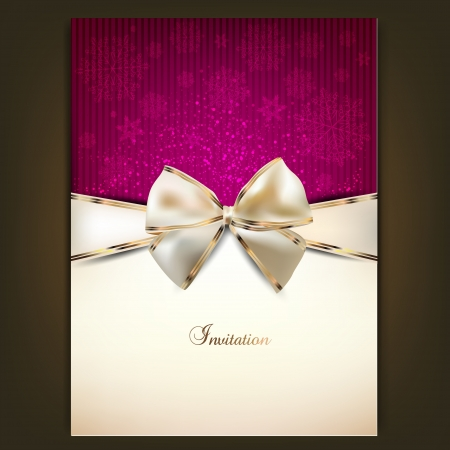 invitation card: Greeting card with white bow and copy space. Vector illustration