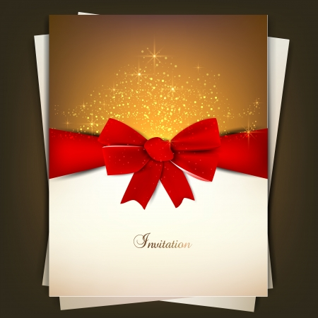 Greeting card with red bow and copy space. Vector illustration Stock Vector - 15554742