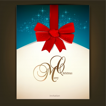 Greeting card with red bow and copy space. Vector illustration Vector