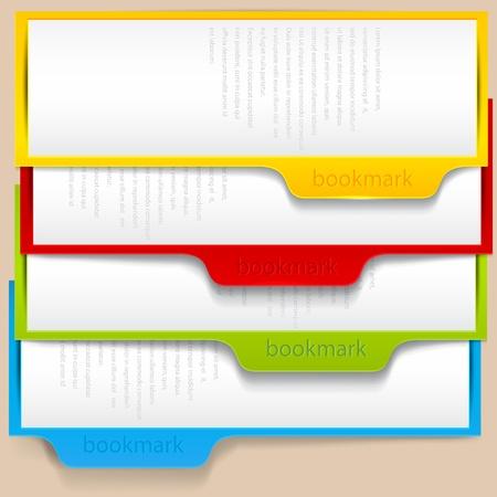 marcadores de libros: Marcadores de colores y pancartas con lugar para el texto Vectores