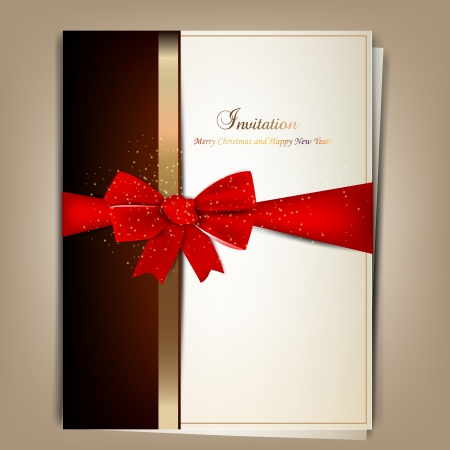 sheet menu: Greeting card with red bow and copy space. Vector illustration Illustration