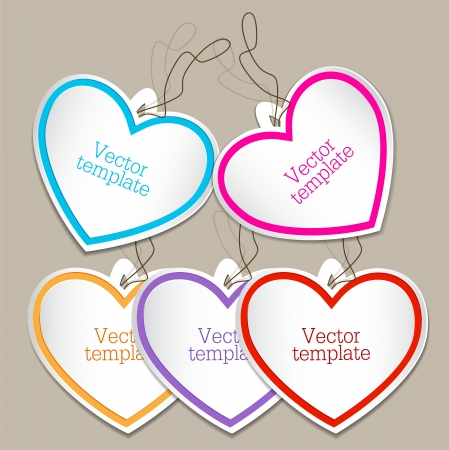 Set of bubbles, stickers, labels, tags. Shape of hearts Vector