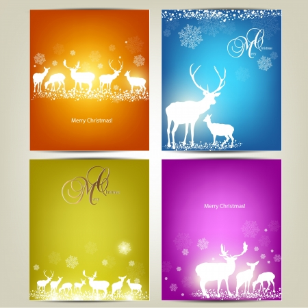 Elegant Christmas banners with deers  Illustration with place for text  Vector