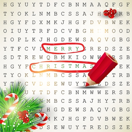 Solution of puzzle.Text &quot, Merry Christmas&quot, highlighted with red pencil Vector