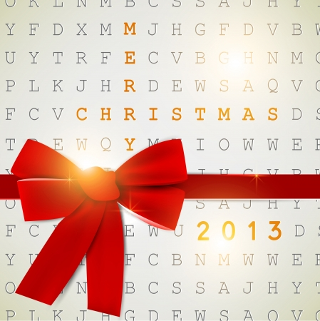 crossword puzzle: Holiday banner with red ribbons.  2013 New Year