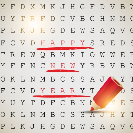 Happy New Year! Text highlighted with red pencil Vector