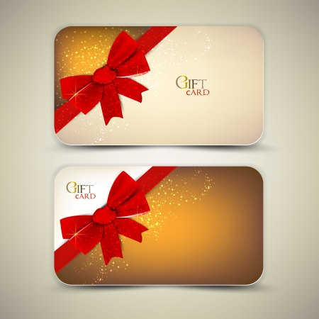 red and yellow card: Collection of gift cards with red ribbons