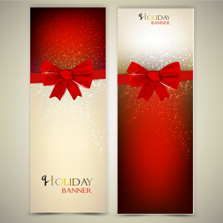 new year greetings: Greeting cards with red bows and copy space