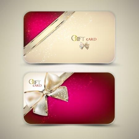 discount banner: Collection of gift cards with ribbons