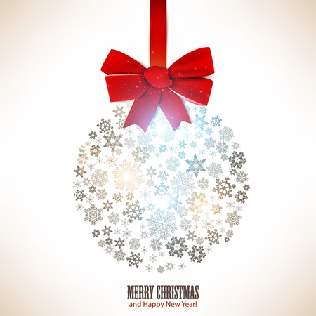 Christmas ball made from snowflakes  Christmas background Vector