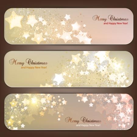 navidad elegante: Conjunto de banners de Navidad elegante con las estrellas Vectores