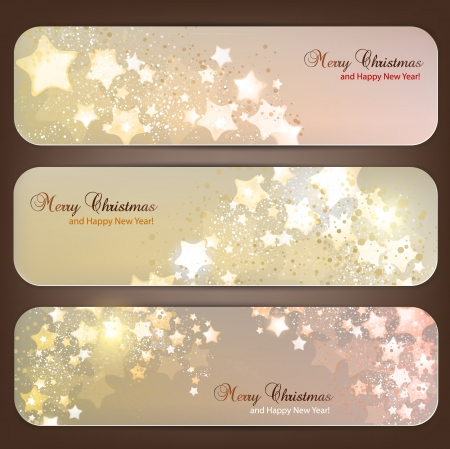 postcard template: Set of Elegant Christmas banners with stars Illustration