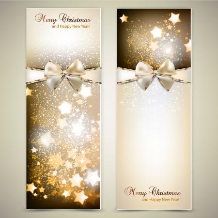 estrellas de navidad: Tarjetas de felicitación con lazos blancos y copia espacio