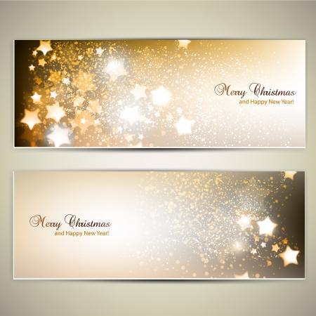 nouvel an: Ensemble de bannières de Noël élégantes avec des étoiles