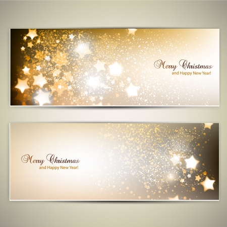 greeting card background: Set of Elegant Christmas banners with stars Illustration