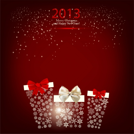 Elegant  Christmas background with gift boxes made from snowflakes Vector