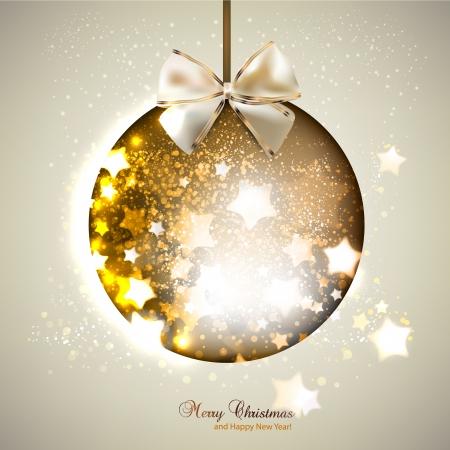 Elegant shiny christmas ball with ribbon  Christmas background Vector