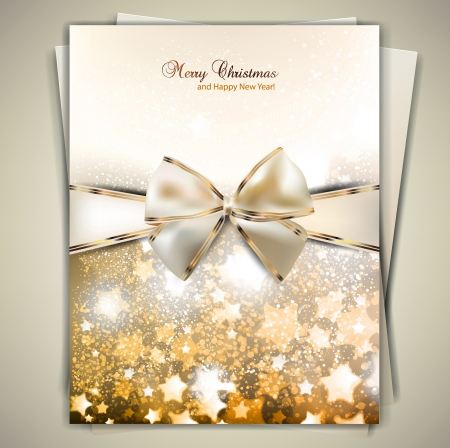season greetings: Greeting card with white bow and copy space. Vector illustration