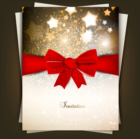 Greeting card with red bow and copy space. Vector illustration Illustration