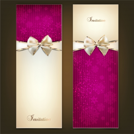 greeting card: Greeting cards with white bows and copy space. Vector illustration Illustration