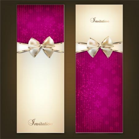 tarjeta de invitacion: Tarjetas de felicitaci�n con lazos blancos y espacio de la copia. Ilustraci�n vectorial Vectores