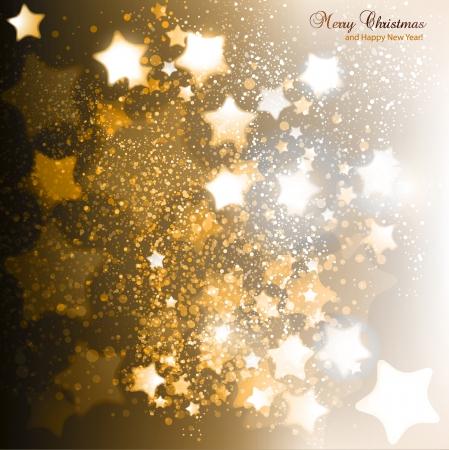 estrellas de navidad: Elegante fondo de Navidad con estrellas de oro. Ilustración vectorial
