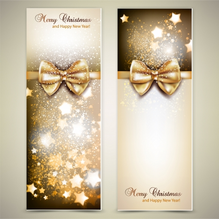 spangle: Greeting cards with golden bows and copy space. Vector illustration