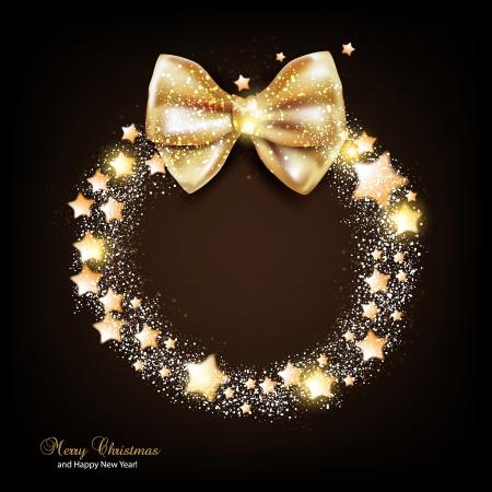 snow wreath: Elegant Christmas wreath with stars and bow. Vector
