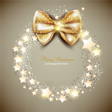 Elegant Christmas wreath with stars and bow  Vector Vector