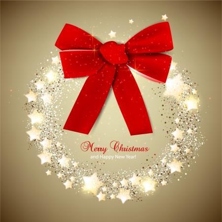 snow wreath: Elegant Christmas wreath with stars and bow  Vector