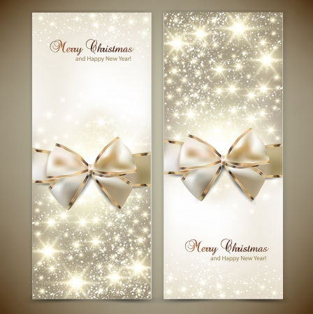 spangle: Greeting cards with white bows and copy space  Vector illustration