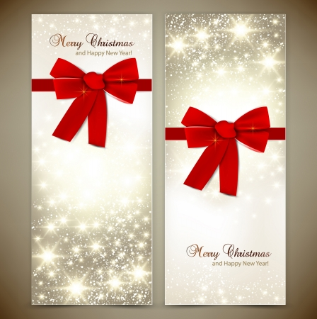 spangle: Greeting cards with red bows and copy space  Vector illustration Illustration